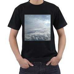 Sky Plane View Men s Two Sided T-shirt (Black)