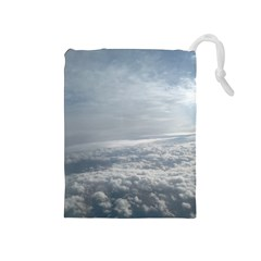 Sky Plane View Drawstring Pouch (medium)