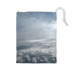Sky Plane View Drawstring Pouch (Large)