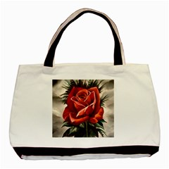 Red Rose Twin Sided Black Tote Bag