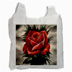 Red Rose White Reusable Bag (two Sides)