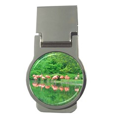 Flamingo Birds at lake Money Clip (Round)