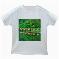 Flamingo Birds At Lake Kids T Shirt (white)
