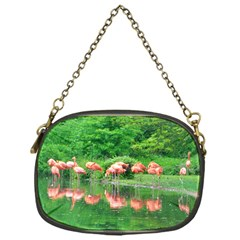 Flamingo Birds At Lake Chain Purse (one Side)