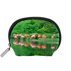 Flamingo Birds At Lake Accessory Pouch (small)