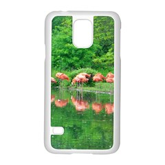 Flamingo Birds at lake Samsung Galaxy S5 Case (White)