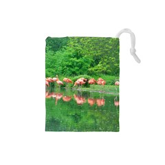 Flamingo Birds at lake Drawstring Pouch (Small)