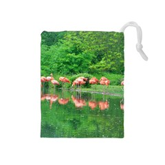 Flamingo Birds At Lake Drawstring Pouch (medium)