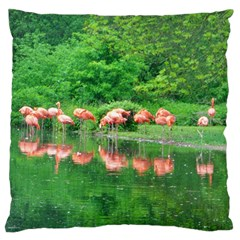 Flamingo Birds at lake Large Flano Cushion Case (Two Sides)