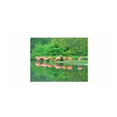 Flamingo Birds at lake Satin Wrap