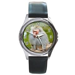 Grey Monkey Macaque Round Leather Watch (Silver Rim)