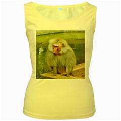 Grey Monkey Macaque Women s Tank Top (yellow)