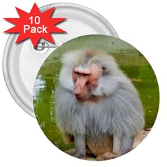 Grey Monkey Macaque 3  Button (10 Pack)