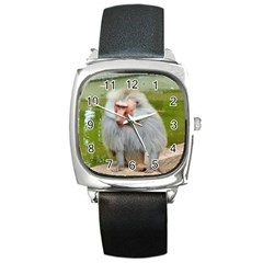Grey Monkey Macaque Square Leather Watch