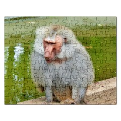 Grey Monkey Macaque Jigsaw Puzzle (rectangle)