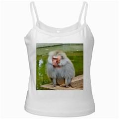 Grey Monkey Macaque White Spaghetti Top
