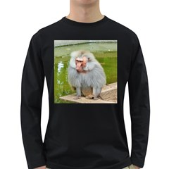 Grey Monkey Macaque Men s Long Sleeve T Shirt (dark Colored)