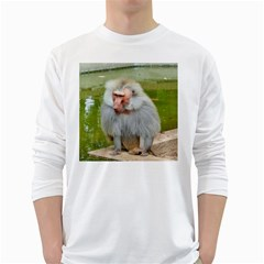 Grey Monkey Macaque Men s Long Sleeve T Shirt (white)