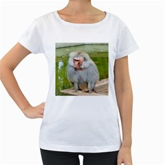Grey Monkey Macaque Women s Loose Fit T Shirt (white)