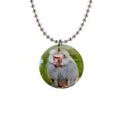 Grey Monkey Macaque Button Necklace
