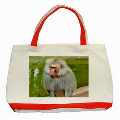 Grey Monkey Macaque Classic Tote Bag (red)