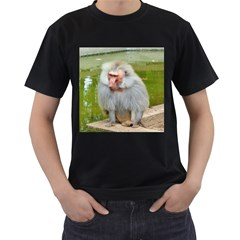 Grey Monkey Macaque Men s T-shirt (Black)
