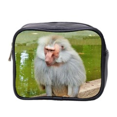 Grey Monkey Macaque Mini Travel Toiletry Bag (two Sides)