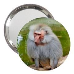 Grey Monkey Macaque 3  Handbag Mirror