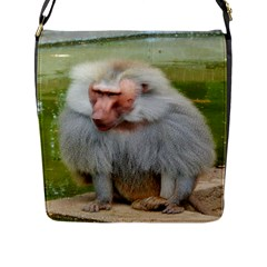 Grey Monkey Macaque Flap Closure Messenger Bag (large)