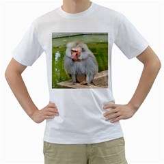 Grey Monkey Macaque Men s T Shirt (white)