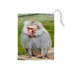Grey Monkey Macaque Drawstring Pouch (medium)