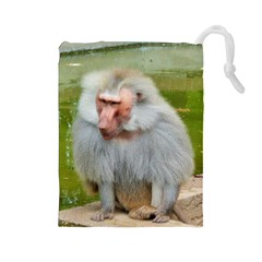 Grey Monkey Macaque Drawstring Pouch (large)