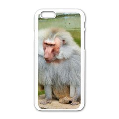 Grey Monkey Macaque Apple iPhone 6 White Enamel Case