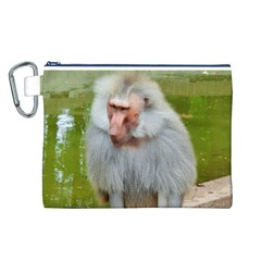 Grey Monkey Macaque Canvas Cosmetic Bag (Large)