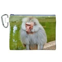 Grey Monkey Macaque Canvas Cosmetic Bag (XL)