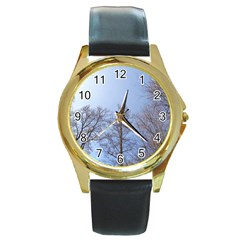 Large Trees In Sky Round Leather Watch (gold Rim)