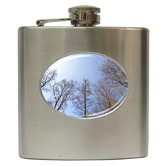 Large Trees In Sky Hip Flask