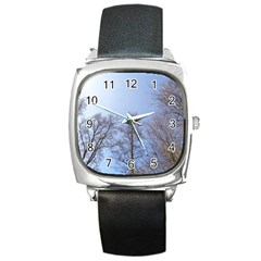 Large Trees In Sky Square Leather Watch