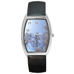 Large Trees In Sky Tonneau Leather Watch