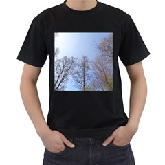 Large Trees in Sky Men s Two Sided T-shirt (Black)