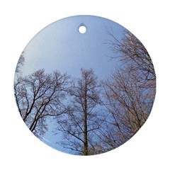 Large Trees In Sky Round Ornament (two Sides)