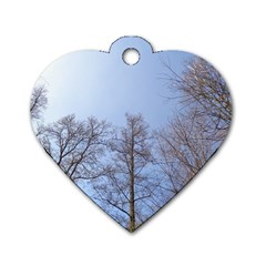 Large Trees In Sky Dog Tag Heart (one Sided)