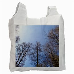 Large Trees In Sky White Reusable Bag (one Side)