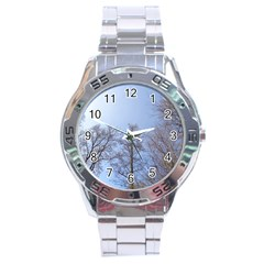 Large Trees In Sky Stainless Steel Watch