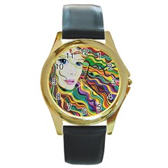 Inspirational Girl Round Leather Watch (gold Rim)