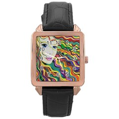 Inspirational Girl Rose Gold Leather Watch