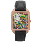 Inspirational Girl Rose Gold Leather Watch  Front