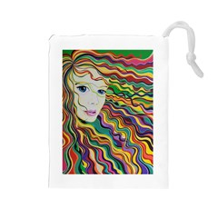 Inspirational Girl Drawstring Pouch (Large)