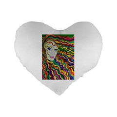 Inspirational Girl Standard 16  Premium Flano Heart Shape Cushion