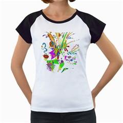 Splatter Life Women s Cap Sleeve T Shirt (white)